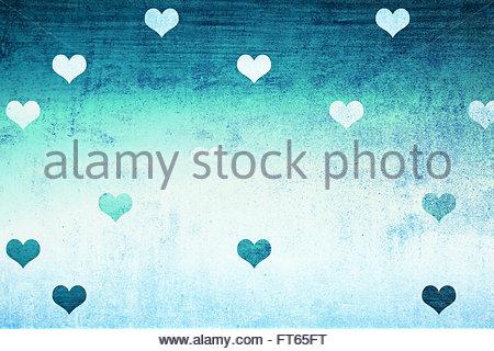 Grunge Cyan Blau strukturiert Wanddetail mit schönen Valentinstag Herzen Formen Illustration Hintergrund. Sehr schön - Stockfoto