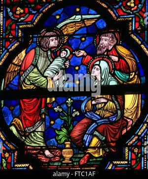 Glasmalerei fenster darstellung der geburt jesu in for Fenster joseph