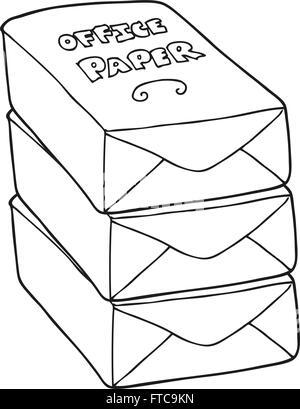 Freihandig Gezeichnete Cartoon Papierstapel Buro Vektor Abbildung