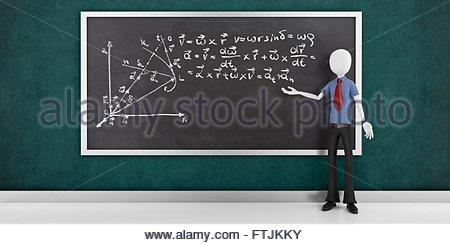 3D Mann mit mathematischen Gleichungen auf einer Tafel - Stockfoto