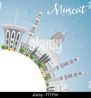 Muscat Skyline mit grauen Gebäuden und blauer Himmel. Vektor-Illustration. Geschäftsreisen und Tourismus-Konzept - Stockfoto