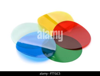 Beleuchtung-Farbfilter-Gele isoliert auf weiss - Stockfoto