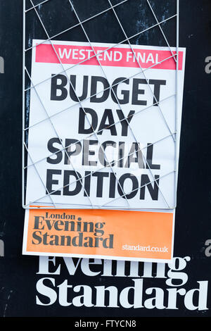 Budget-Tag-Schlagzeile in London, England. - Stockfoto