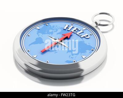 3D Illustration. Kompass zeigt die Word-Hilfe. Isolierten weißen Hintergrund. - Stockfoto