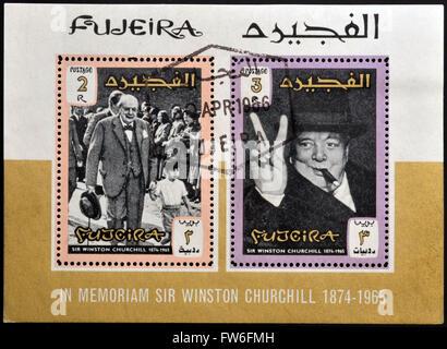 FUJERIA - ca. 1966: Briefmarken gedruckt in Fujeira zeigt Bild von Sir Winston Churchill, 1874-1965, ca. 1966 - Stockfoto