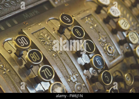 Vintage Registrierkasse Keys Closeup, selektiven Fokus - Stockfoto