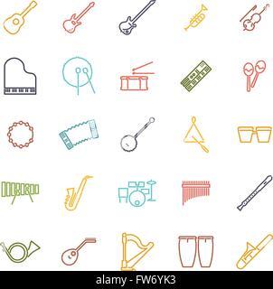 Musikinstrumente-Linie-Icon-Set - Stockfoto