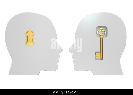 Köpfe mit Schlüssel, 3D Rendering isoliert auf weißem Hintergrund Stockfoto