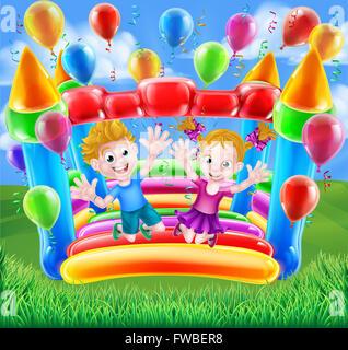 Zwei Kinder Spaß springen auf eine Hüpfburg mit Luftballons und Luftschlangen - Stockfoto