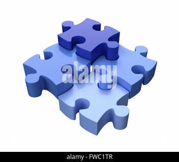 Vier Jigsaw Puzzle Stücke blau auf weißem Hintergrund Stockfoto