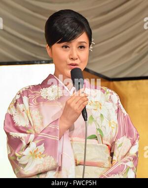 Norika Fujiwara, 31. März 2016: Tokio, Japan: japanische Schauspielerin Norika Fujiwara nimmt an einer Pressekonferenz - Stockfoto