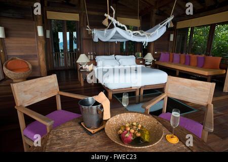 Six Senses Resort, Koh Yao Noi, Bucht von Phang Nga, Thailand, Asien. Im Inneren einen Bunglow. Sechs Sinne Yao - Stockfoto