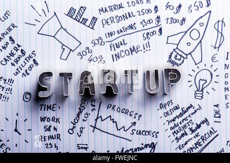 Starten Sie Zeichen auf Papierhintergrund mit handschriftlichen Notizen - Stockfoto