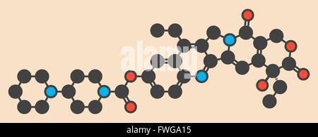Irinotecan Krebs Chemotherapie Medikamentenmolekül, das stilisierte Skelettformel (chemische Struktur) Atome als - Stockfoto