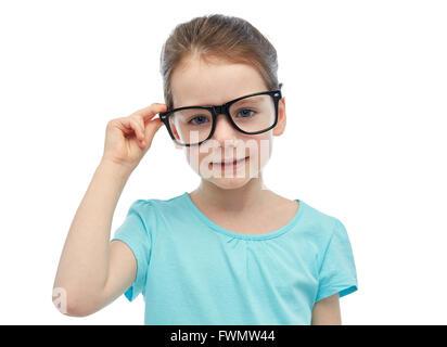 glückliche kleine Mädchen in Brillen - Stockfoto