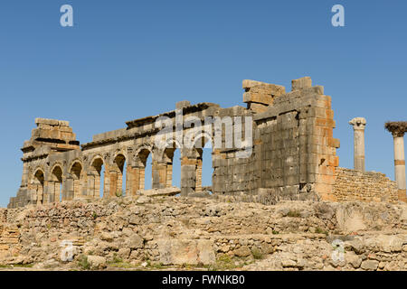 Römischen Ruinen von Volubilis, in der Nähe von Meknès, Marokko - Stockfoto