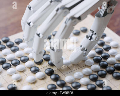 Künstliche Intelligenz spielen traditionelle Brettspiel Go Konzept - Stockfoto