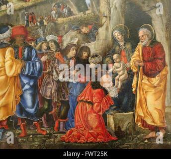Bernardo Parentino (1450-1500). Italienischer Maler. Renaissance. Die Anbetung der Könige, 1475. Louvre-Museum. - Stockfoto