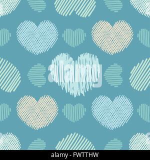 Doodle Herzen. Die nahtlose Vektor Muster mit verschiedenen doodle Herzen. - Stockfoto
