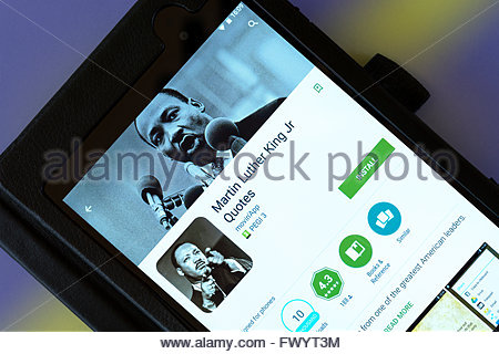 Martin Luther King, Jr. Zitate app auf einem android-Tablet PC, Dorset, England, UK - Stockfoto
