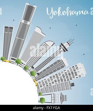 Yokohama Skyline mit grauen Gebäuden, blauer Himmel und Textfreiraum. Vektor-Illustration. Wirtschaft und Tourismus - Stockfoto