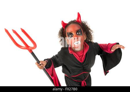 Mädchen Mit Gesicht Malen Und Teufel Halloween Kostüm Isoliert In