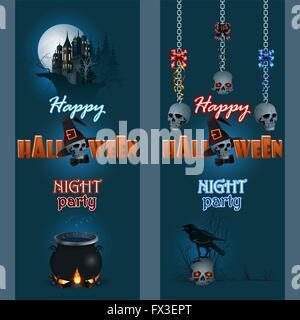 Satz von Web-Banner-Halloween-Hintergrund mit Raben auf Schädel, Spukschloss, magischen Kessel und Schädel von Ketten - Stockfoto