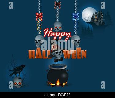 Halloween, Feier Hintergrund mit Raben auf Schädel, Spukschloss und Schädel hängen an Ketten über Hexenkessel - Stockfoto