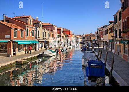 Kanal im malerischen Insel Murano, Venedig, Veneto, Italien. - Stockfoto
