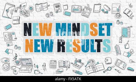 Neues Denken - neue Ergebnisse. Konzept mit Doodle Design-Ikonen. - Stockfoto