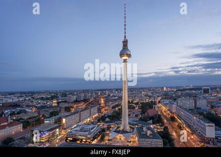 Blick vom Parorama Bar Alex Fernsehturm, Berlin - Stockfoto