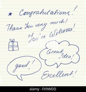 Handschriftliche kurze Sätze. Herzlichen Glückwunsch, ich danke Ihnen, gut, sehr gut... - Stockfoto