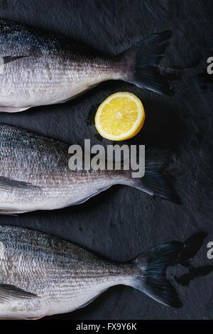 Drei Schwänzen von rohen Brassen Fisch mit Zitrone auf Stein Schiefer schwarz strukturierten Hintergrund. Mit Textfreiraum. - Stockfoto