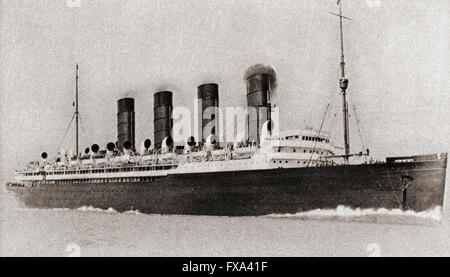 Die Jungfernfahrt des Cunard-Liners RMS Mauretania 1907. - Stockfoto