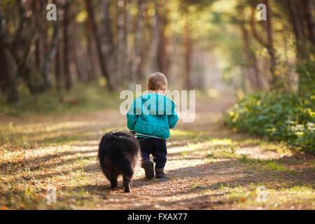 Ein 14-jähriger Junge mit Waschbär in einem Wald - Stockfoto