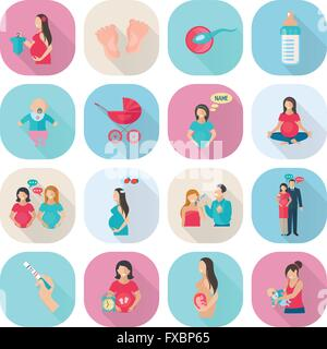 Schwangerschaft-Icons flach - Stockfoto