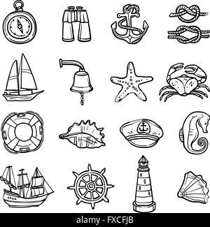 Nautische schwarz weiße Icons Set - Stockfoto