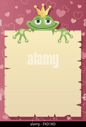 Froschkönig ist Liebesbrief an seine geliebte Prinzessin festzuhalten. - Stockfoto