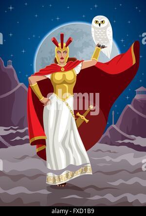 Göttin Athene Holding weiße Eule. - Stockfoto