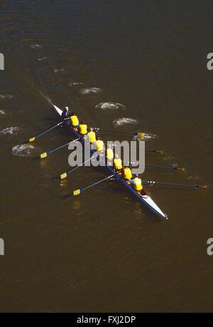 Paddler in den Kopf der Schuylkill Regatta Rudern; Delaware River; Philadelphia; Pennsyvlania; USA - Stockfoto