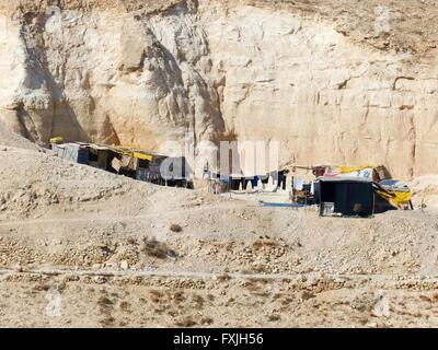 Judäische Wüste Wadi Qelt, in der Nähe von St. George griechisch-orthodoxen Klosters, in der Ost West Bank - Stockfoto
