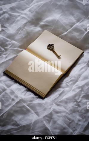 alte Schlüssel über ein offenes Buch - Stockfoto