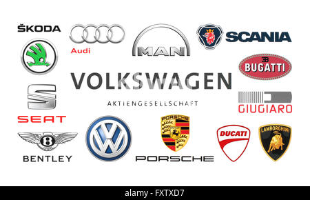 volkswagen logo symbol auf auto au erhalb auto autohaus. Black Bedroom Furniture Sets. Home Design Ideas