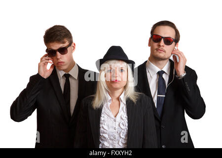 Frau mit bodyguards - Stockfoto