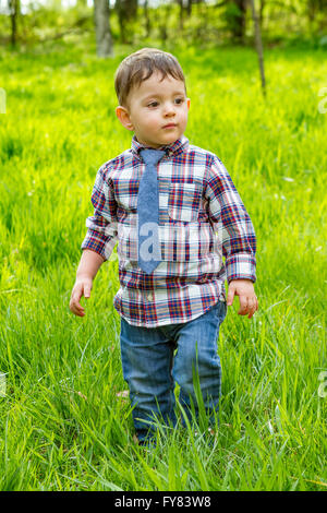 Kleiner Junge im blauen Hemd Jeans und gestreifte Krawatte zu Fuß auf der Wiese im park - Stockfoto