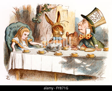 Mad Hatter es Tea Party, Alice im Wunderland Bildnis oder ...