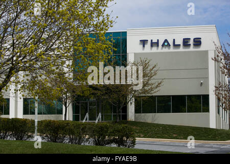 Ein Logo Zeichen außerhalb einer Einrichtung, die von der Thales Group in Clarksburg, Maryland am 10. April 2016 - Stockfoto