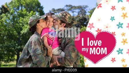 Zusammengesetztes Bild der Armee paar küssen Tochter - Stockfoto