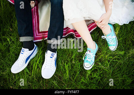 Braut und Bräutigam Schuhe - Stockfoto