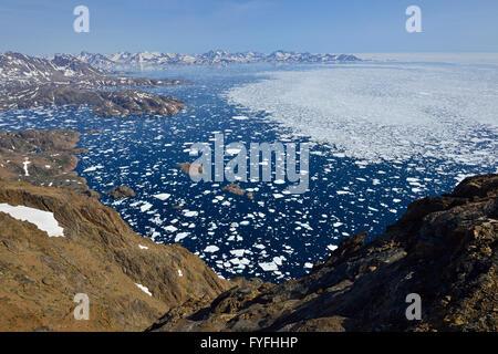 Polar-Stream mit Packeis und Treibeis östlich von Ostgrönland, Kalaallit Nunaat, Ammassalik und Insel Kulusuk, Grönland - Stockfoto